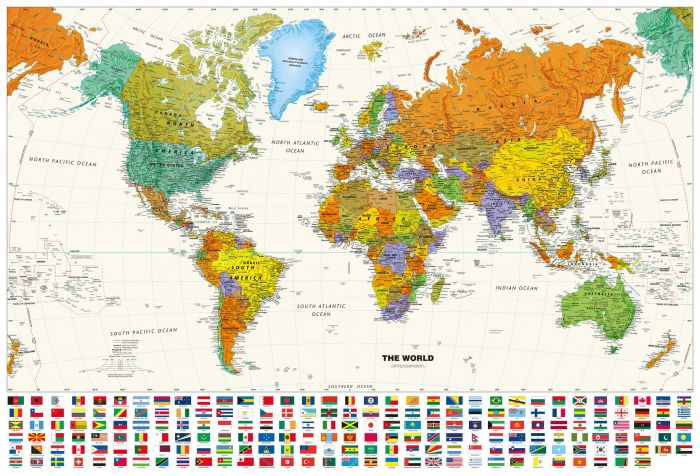 Contemporary World Map With Flags