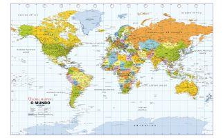 Political World Wall Map, Portuguese Language