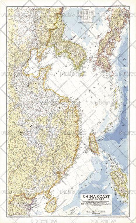 China Coast And Korea Published 1953 Map