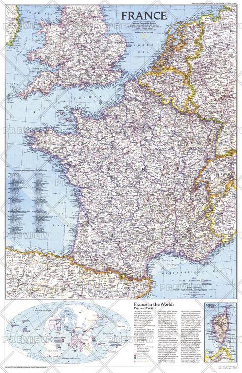 France Published 1989 Map
