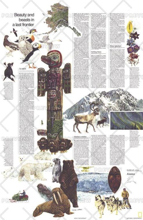 Close Up Usa Alaska Theme Published 1975 Map