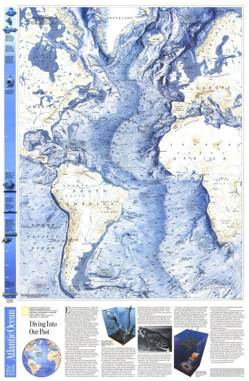 World Ocean Floors Atlantic Ocean Published 1990 Map