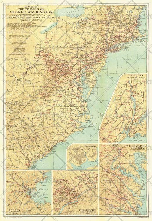 Travels Of George Washington Published 1932 Map