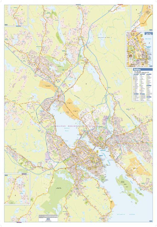 Halifax Wall Map Street Detail Large