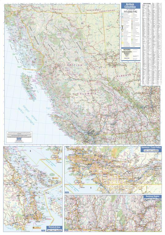 British Columbia Wall Map Large
