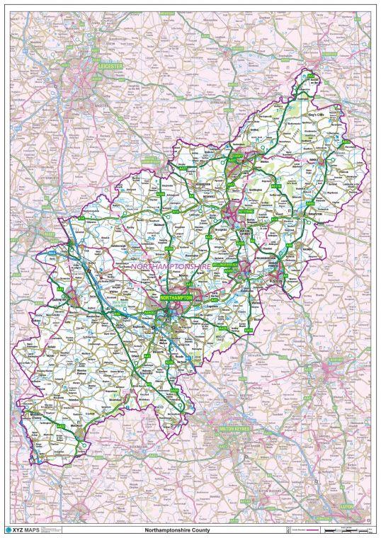 Northamptonshire County Map