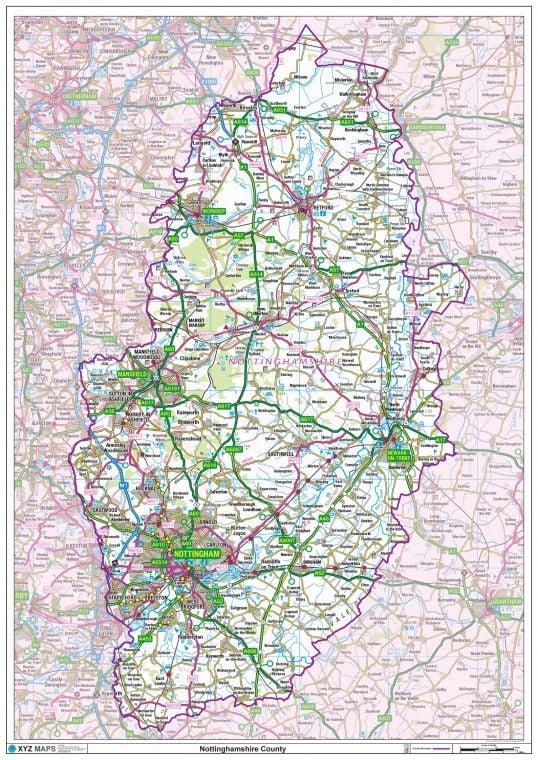 Nottinghamshire County Map
