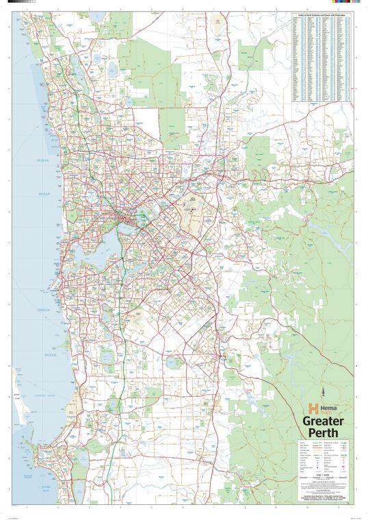 Perth Australia Regional Wall Map
