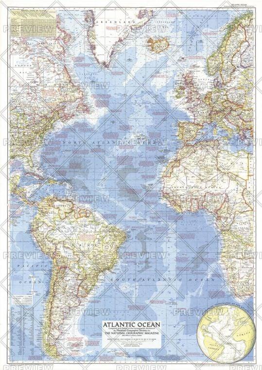 Atlantic Ocean Published 1955 Map