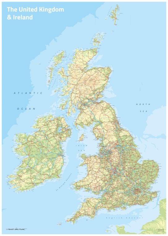 Uk Ireland Topographic Map