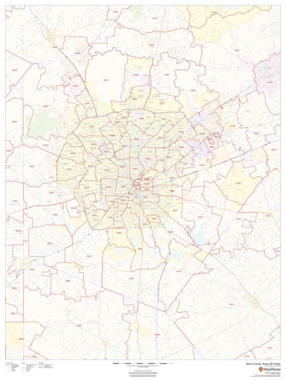 Bexar County Texas Zip Codes Map