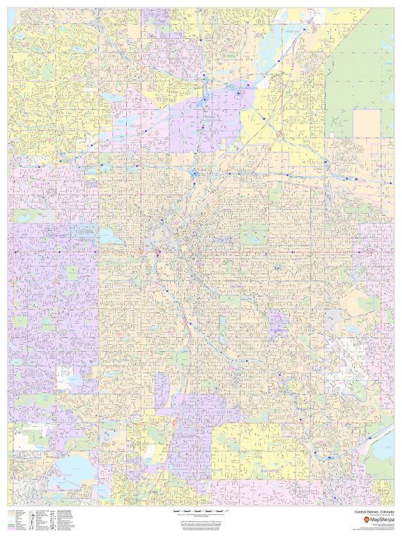 Central Denver Colorado Portrait Map