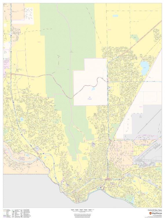 Central El Paso Texas Portrait Map