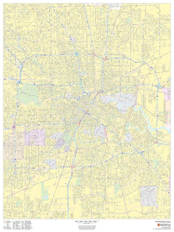Central Houston Texas Portrait Map