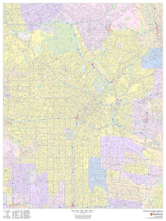 Central Los Angeles California Portrait Map