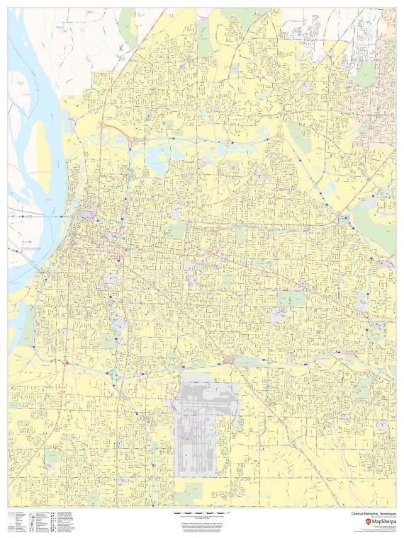 Central Memphis Tennessee Portrait Map