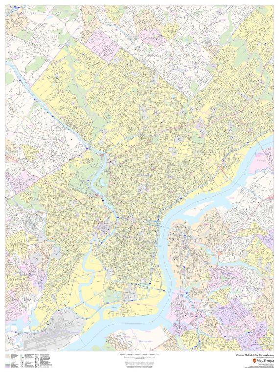 Central Philadelphia Pennsylvania Portrait Map