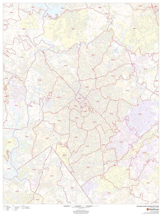 Charlotte North Carolina Zip Codes Map