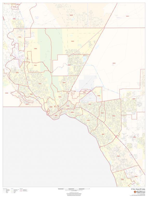 El Paso Texas Zip Codes Map