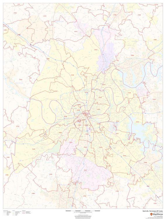 Nashville Tennessee Zip Codes Map