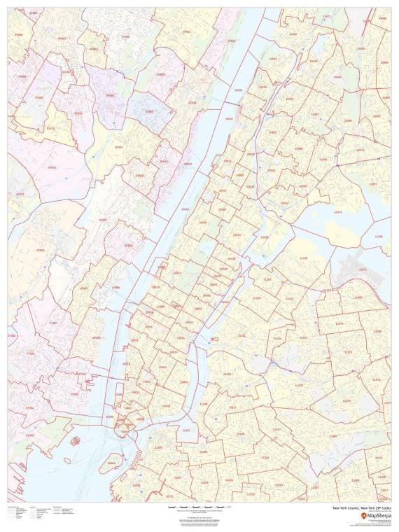 New York County New York Zip Codes Map