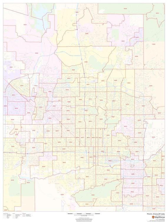 Phoenix Arizona Zip Codes Map