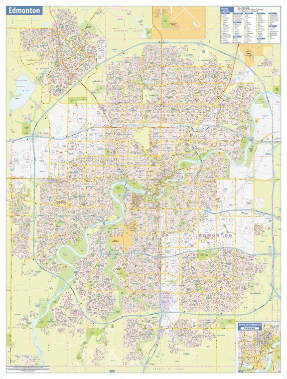 Edmonton Wall Map Street Detail Large