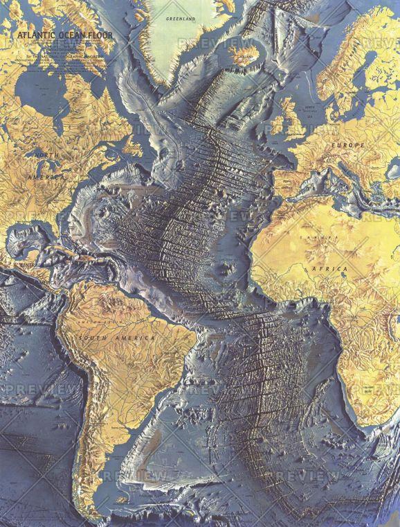 Atlantic Ocean Floor Published 1968 Map