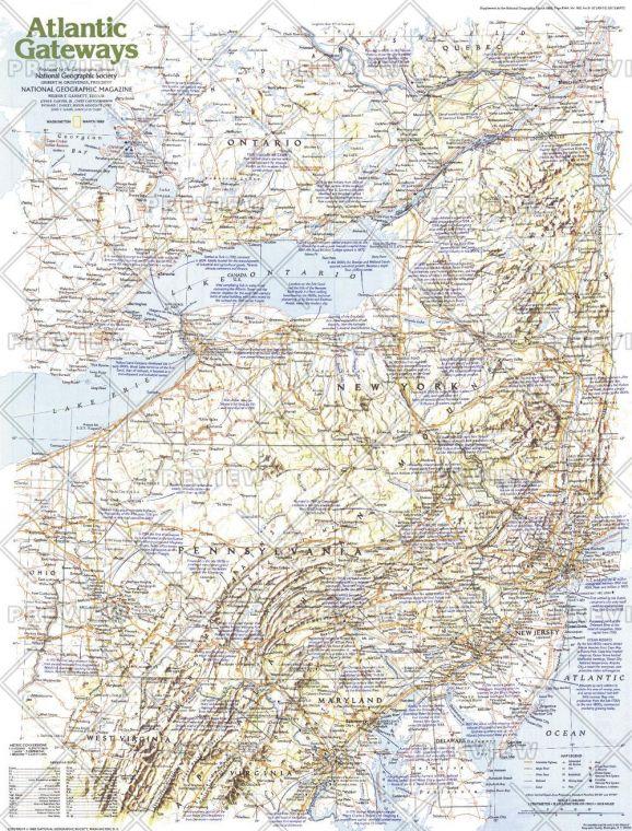 Making Of America Atlantic Gateways Published 1983 Map