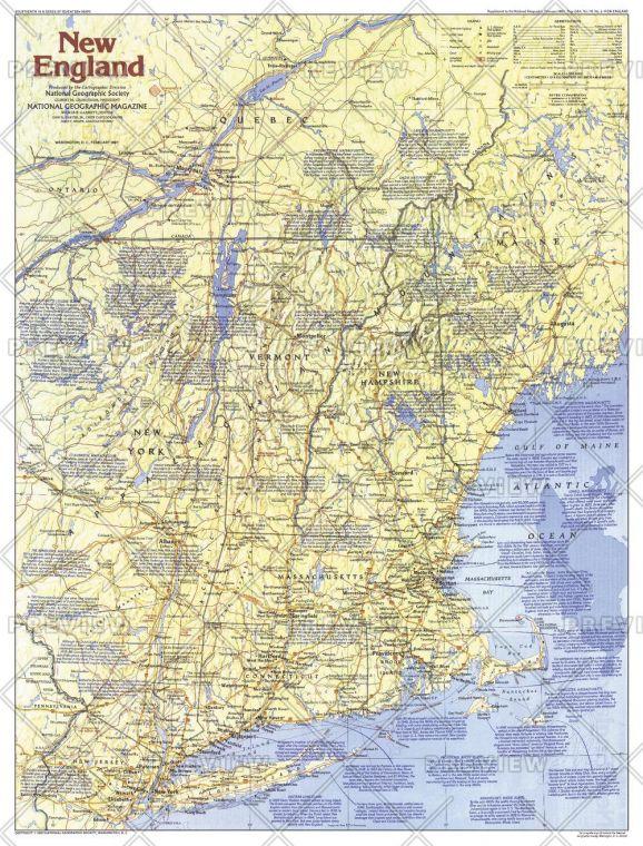 New England Map Side 1 Published 1987