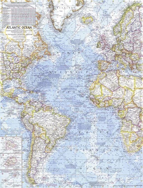 Atlantic Ocean Published 1968 Map