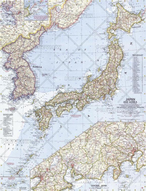 Japan And Korea Published 1960 Map