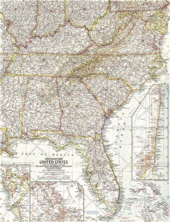 Southeastern United States Published 1958 Map