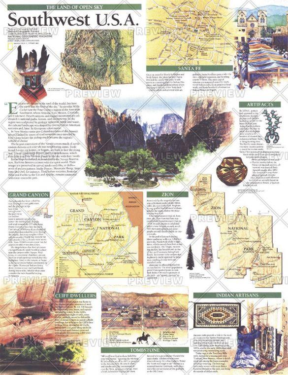 Southwest Usa Map Land Of Open Sky Published 1992