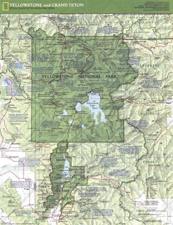 Yellowstone And Grand Teton Side 1 Published 1989 Map