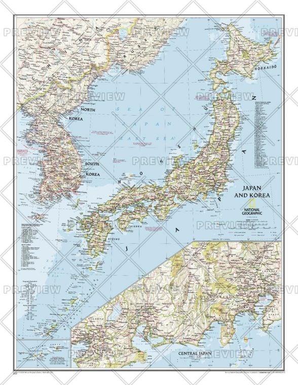 Japan And Korea Published 2011 Map