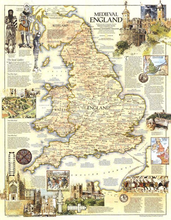 Medieval England Published 1979 Map
