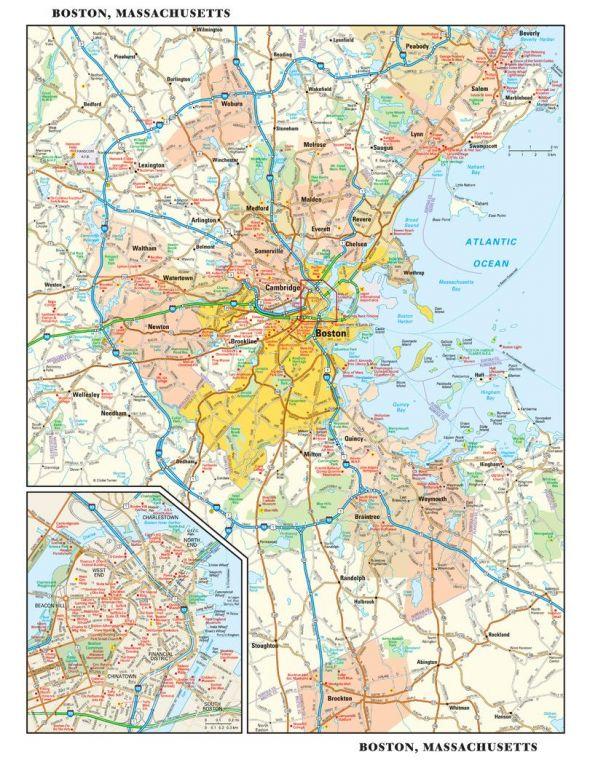 Boston Massachusetts Wall Map