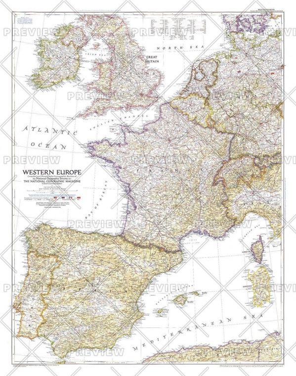 Western Europe Published 1950 Map
