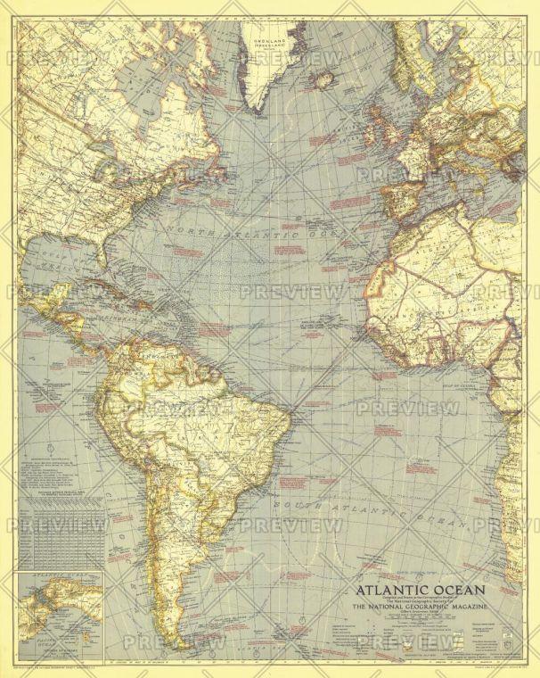 Atlantic Ocean Published 1939 Map