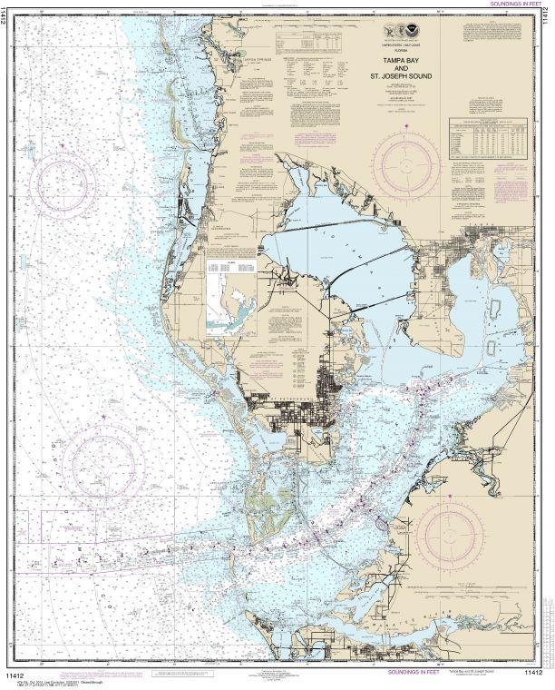 Noaa Chart 11412 Tampa Bay And St Joseph Sound