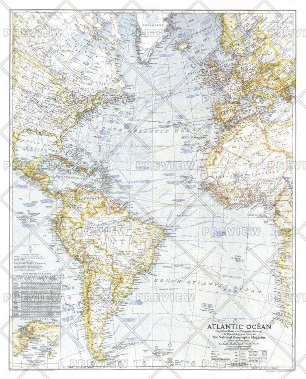 Atlantic Ocean Published 1941 Map