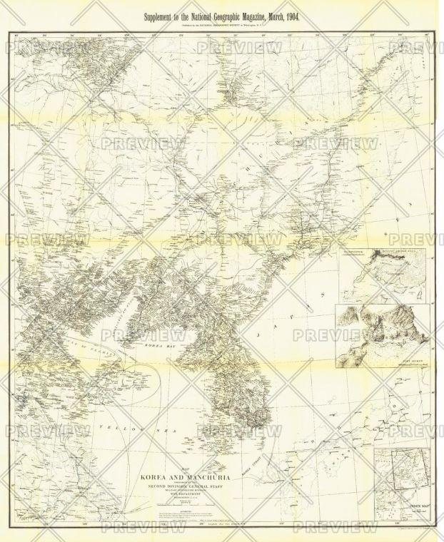 Korea And Manchuria Published 1904 Map