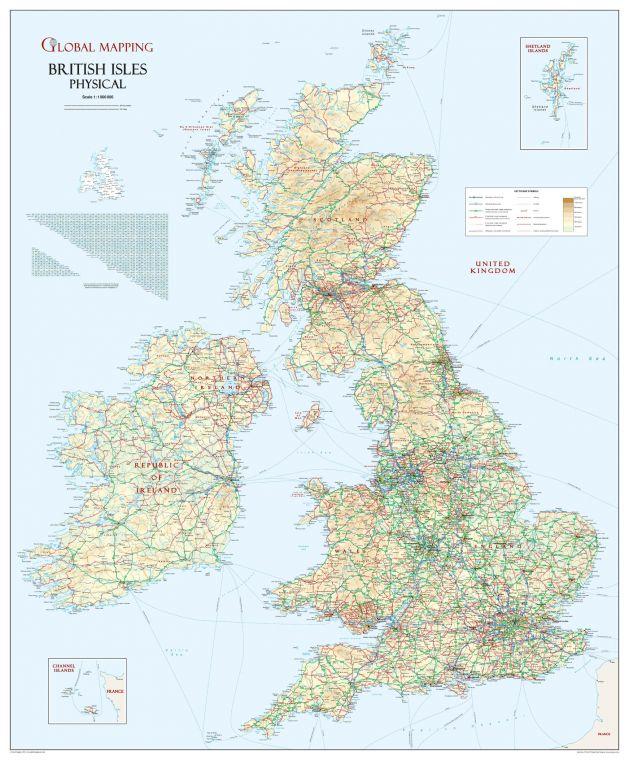 British Isles Physical Wall Map