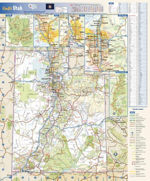 Utah State Wall Map
