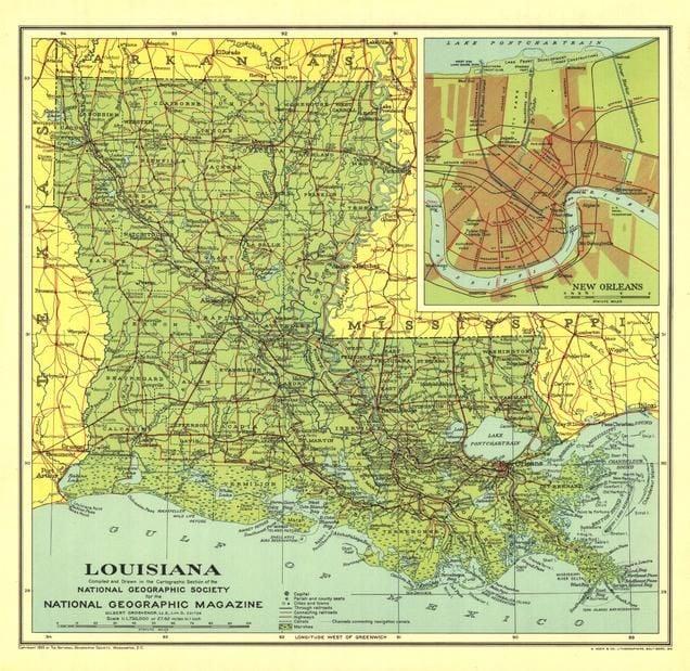 Louisiana Published 1930 Map
