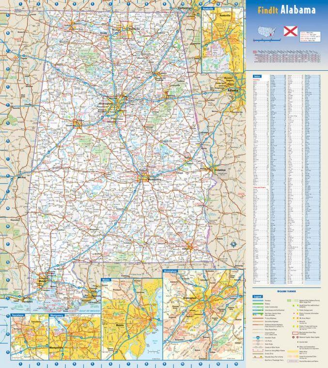 Alabama State Wall Map