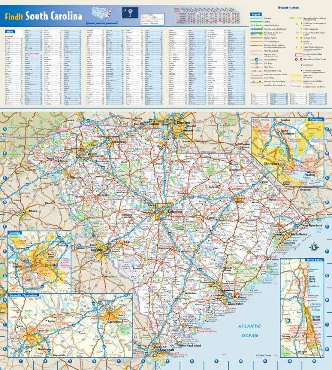 South Carolina State Wall Map