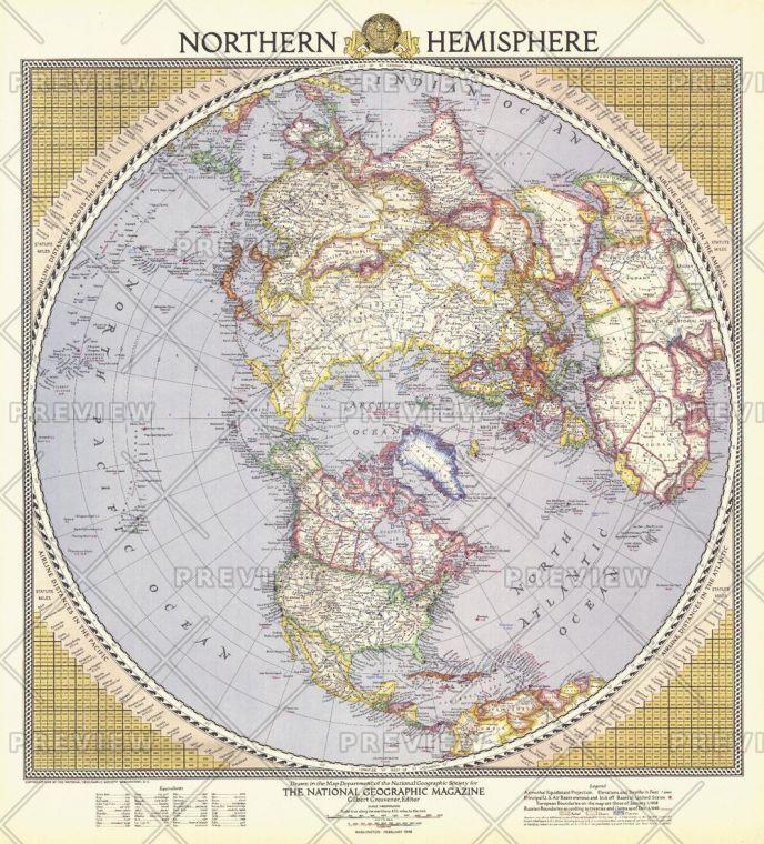 Northern Hemisphere Published 1946 Map