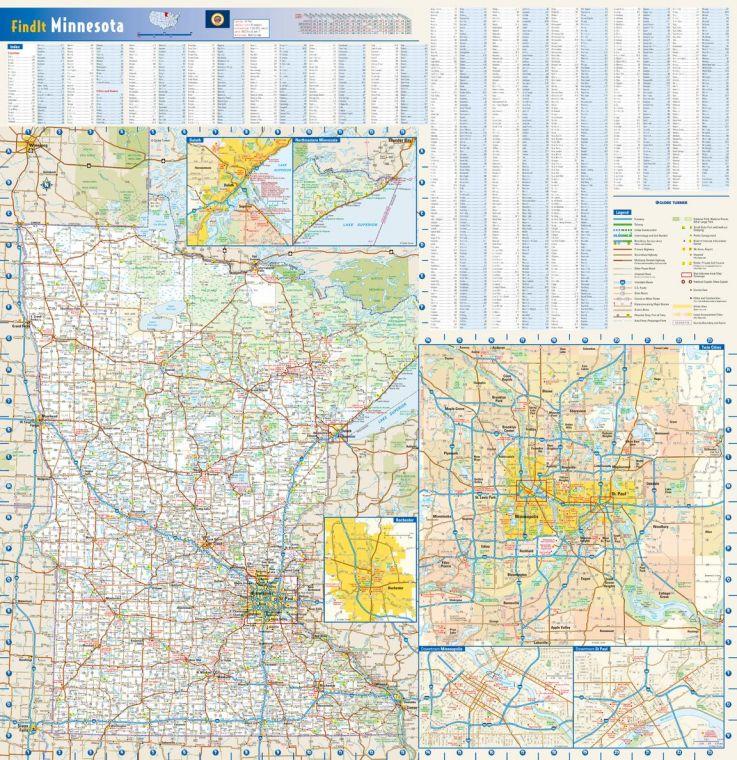 Minnesota State Wall Map